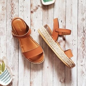 Brown Tan Espadrilles Wedge